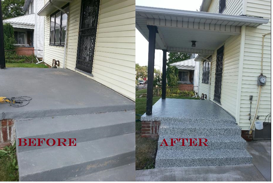 Front Porch Concrete Resurface Makeover Lima Oh